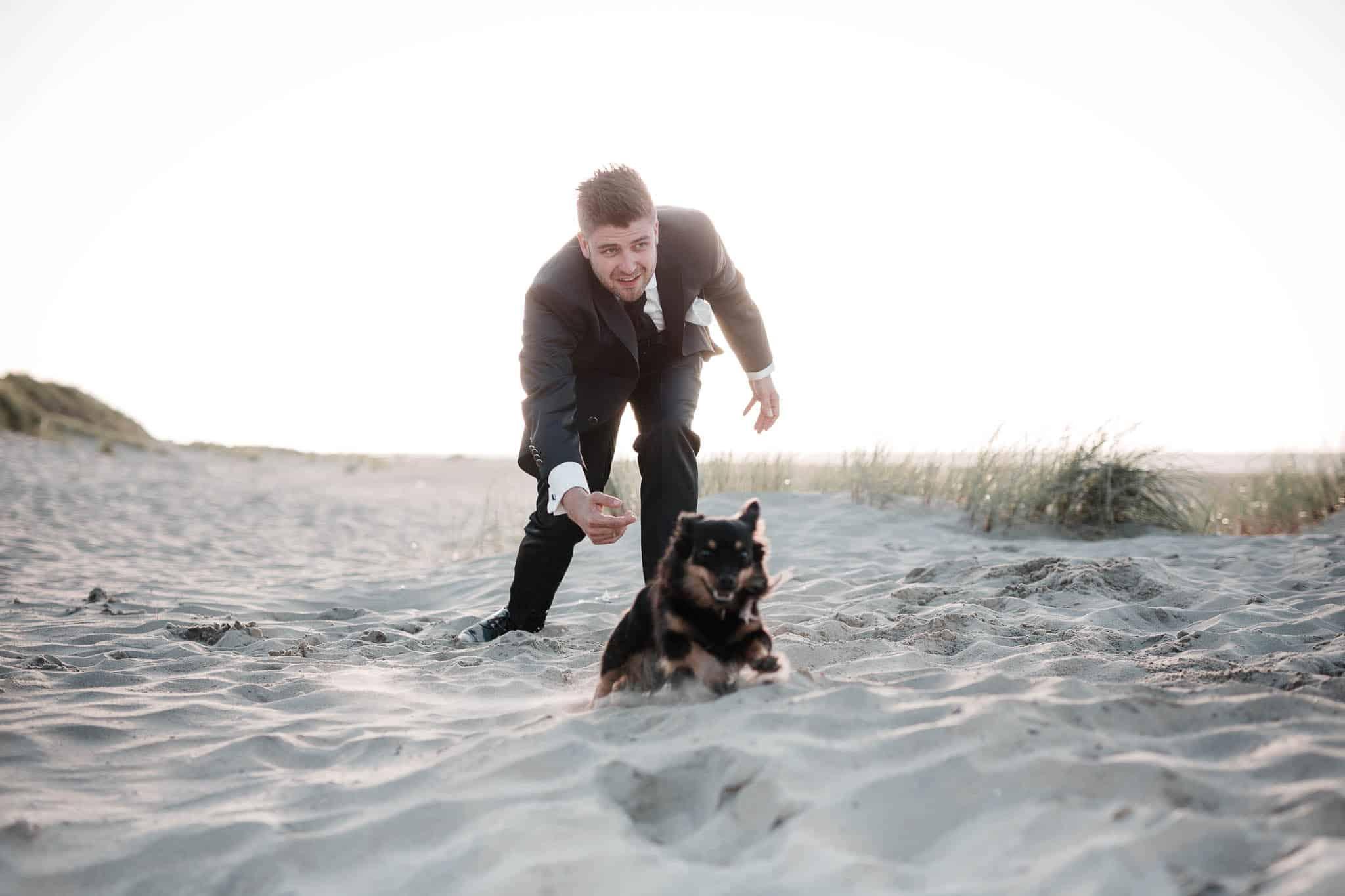 Hündin Jada flitzt über den Strand von Renesse