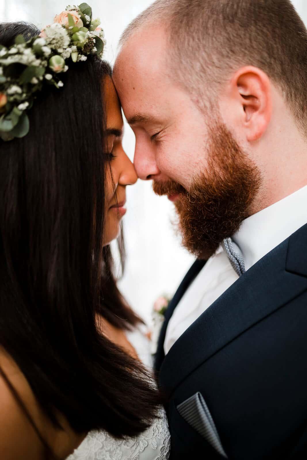 Closeup des Brautpaares