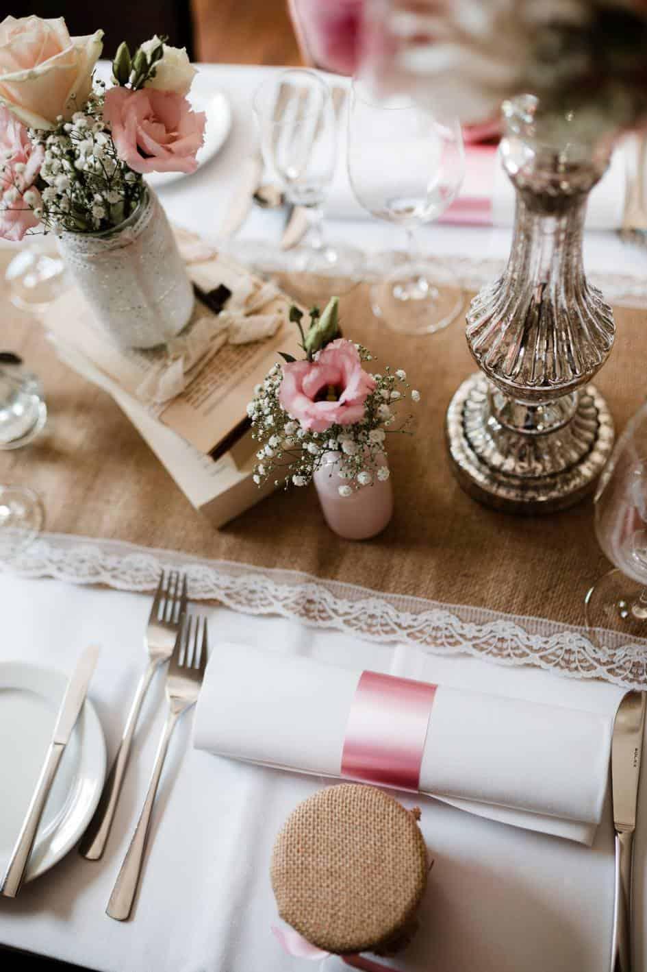 Tischdeko einer Hochzeit in Guntersblum